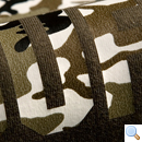 Close-up of camouflage on olive green fabric